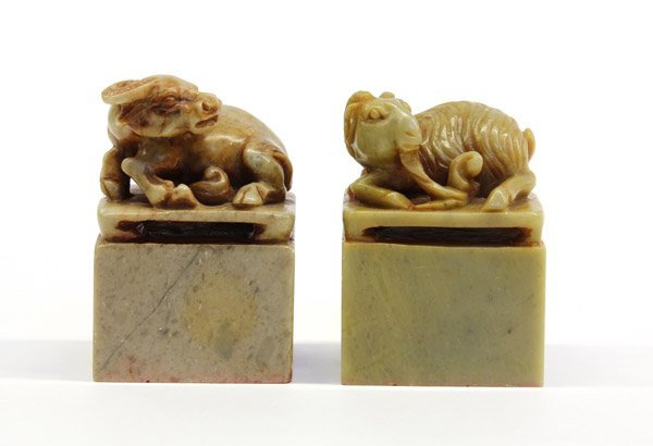 18: Chinese Soapstone Seals, Ox and Ram