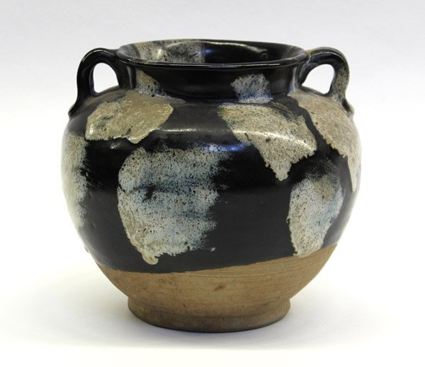 24: Chinese Phosphatic and Dark Glazed Ceramic Jar
