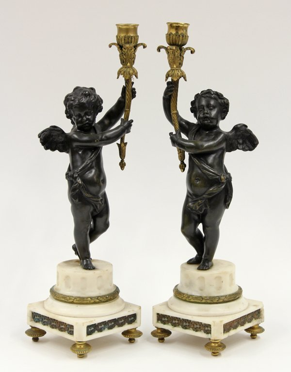 6013: Louis XV style patinated bronze candlesticks