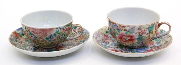 4012: Chinese Mille Fleur Tea Cups and Saucers
