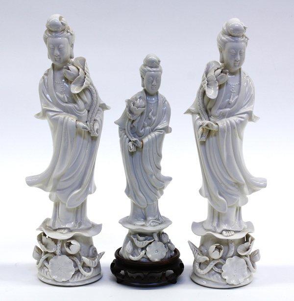 4015: Three Chinese Blanc de Chine Guanyin