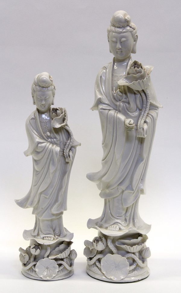 4016: Two Chinese Blanc de Chine Guanyin