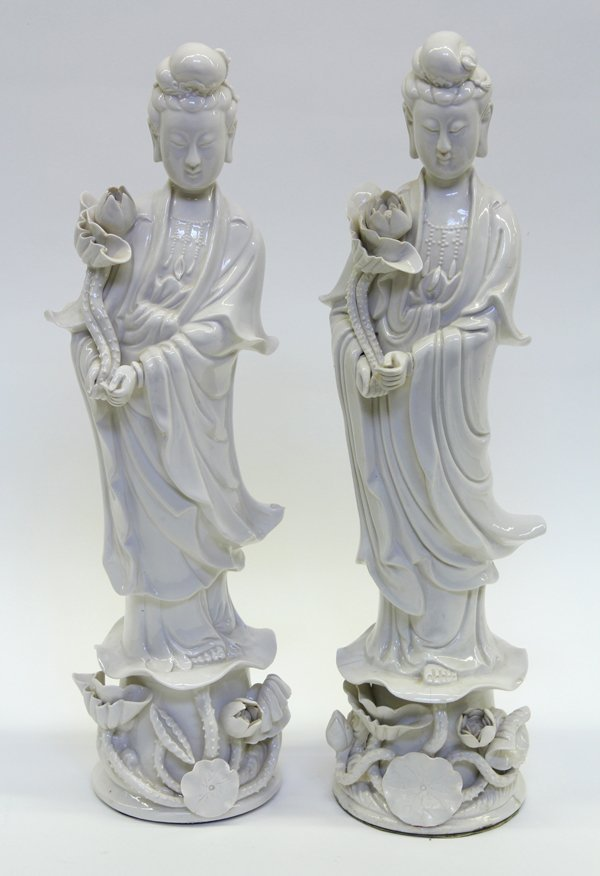 4017: Two Chinese Blanc de Chine Standing Guanyin