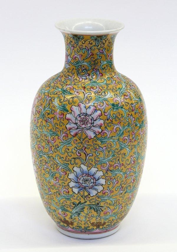4021: Chinese Enameled Yellow Porcelain Vase