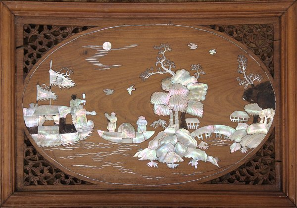 4057: Two Chinese Mother of Pearl Inlaid Wood Plaques