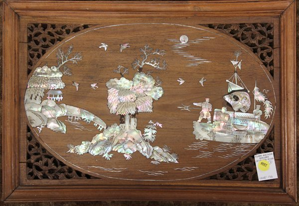 4057: Two Chinese Mother of Pearl Inlaid Wood Plaques - 2