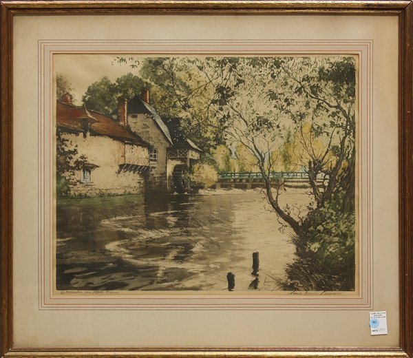 4208: Etching, Paul Emile Lecomte, Watermill in France