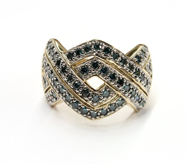 4555: 14k Blue Diamond Set Ring