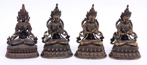 14: Nepalese Four Bronze Tara Figures