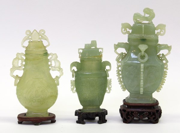17: Group of Chinese Green Hardstone Urns