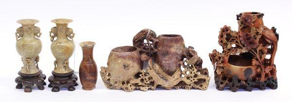20: Five Chinese Soasptone Vases