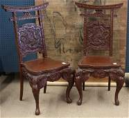 99 Two Japanese Export Wooden Dragon Chairs