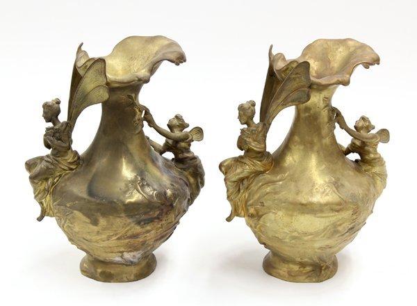 2015: Pair of Art Nouveau Style Bronze Urns