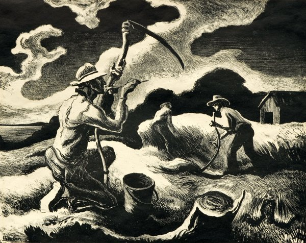 2200: Lithograph, Thomas Hart Benton, Island Hay
