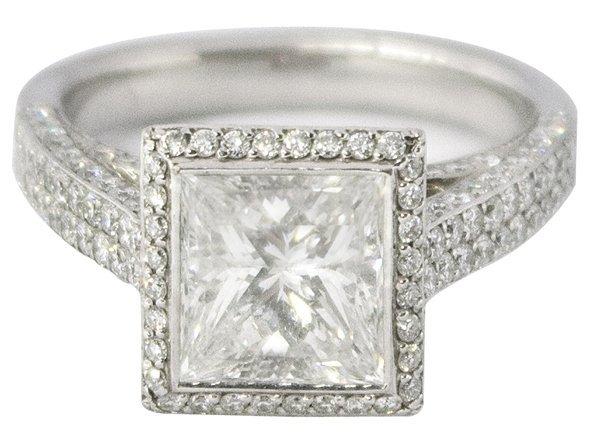 2810: 18K white gold and 2.96 ct. diamond ring