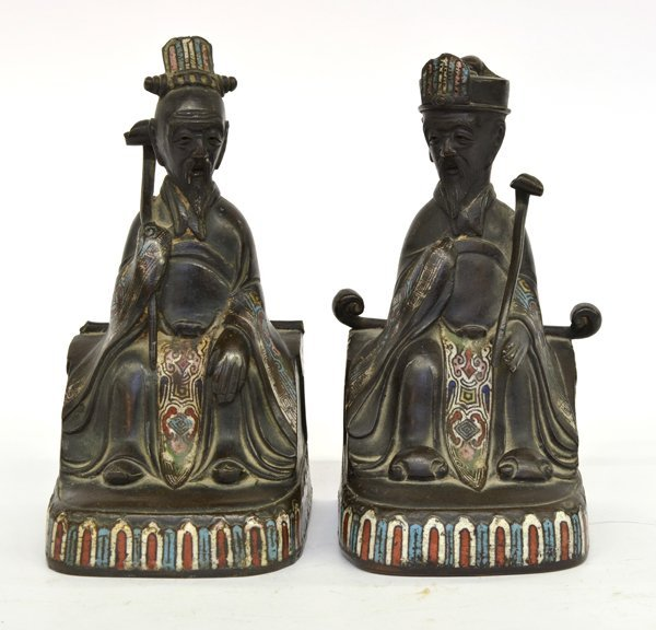 6: Chinese Champleve EnameledFigural Bookends