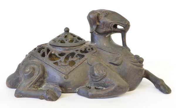 12: Chinese Ram Form Patinated Metal Censer