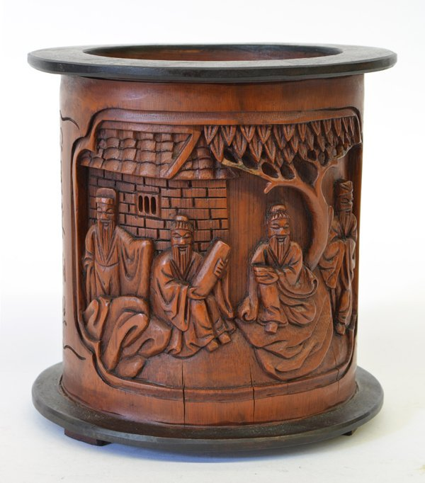 24: Chinese Bamboo/Wood Brush Pot