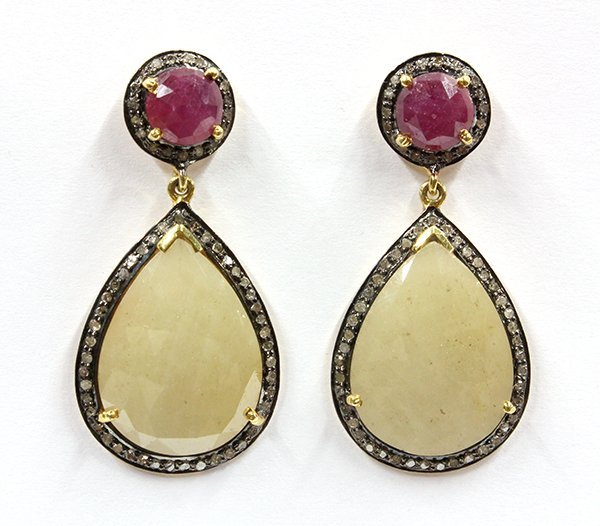 6849: Yellow sapphire, ruby and diamond earrings