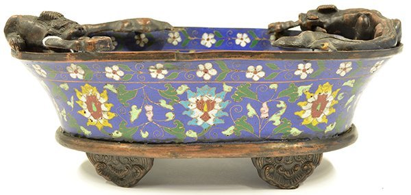 4020: Chinese Cloisonne Enameled Contianer/Planter