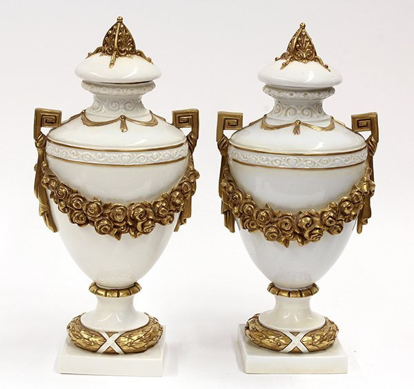 2000: Pair of Continental porcelain urns