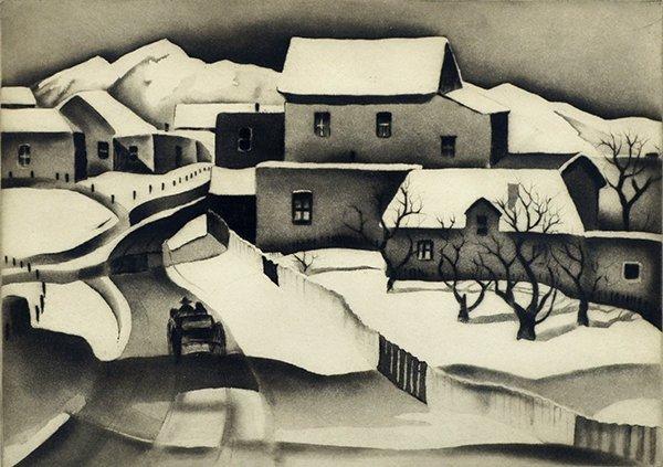 2241: Etching, Gene Kloss, Taos in Winter