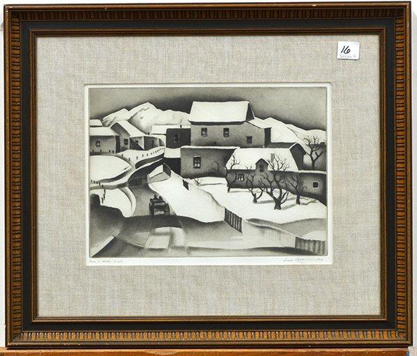 2241: Etching, Gene Kloss, Taos in Winter - 2