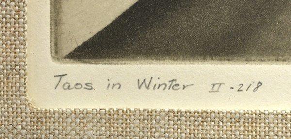 2241: Etching, Gene Kloss, Taos in Winter - 4