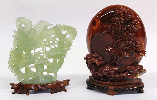 11: (lot of 2) Chinese Agate and Green Phoenix/Dragon S