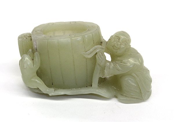 13: Chinese Figural Jade, Child and Lotus