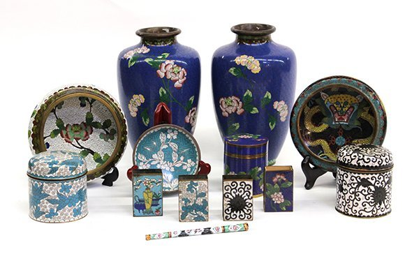 16: Group of Chinese Cloisonne Enameled Items