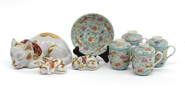 23: Japanese Fukagawa  Porcelain& Kutani Cats