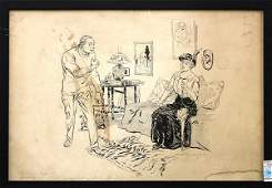 163 lot of 2 Framed pen and ink illustrations The