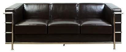 6272 Le Corbusier style leather and chrome sofa