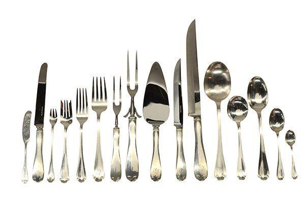 "6397: Tiffany & Company ""Flemish"" sterling silver flatw"