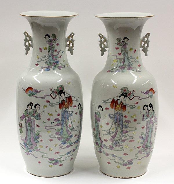 8060: Two Chinese Enameled Porcelain Vases