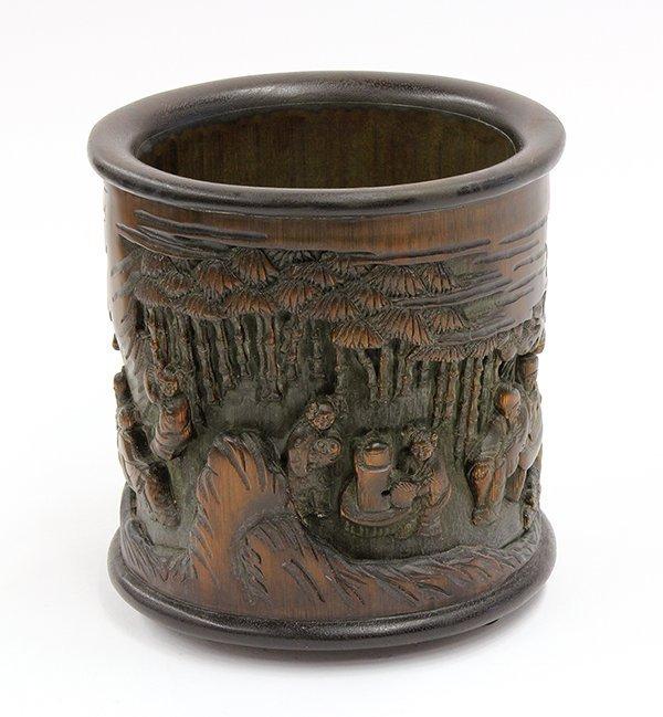 4006: Chinese Wood and Bamboo Brush Pot