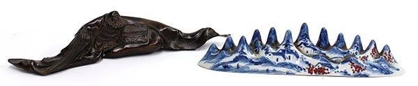 4011: Two Chinese Brush Rest, Porcelain and Metal