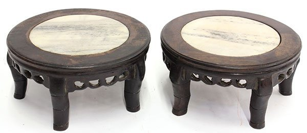4016: Two Chinese Small Marble Wood Stands