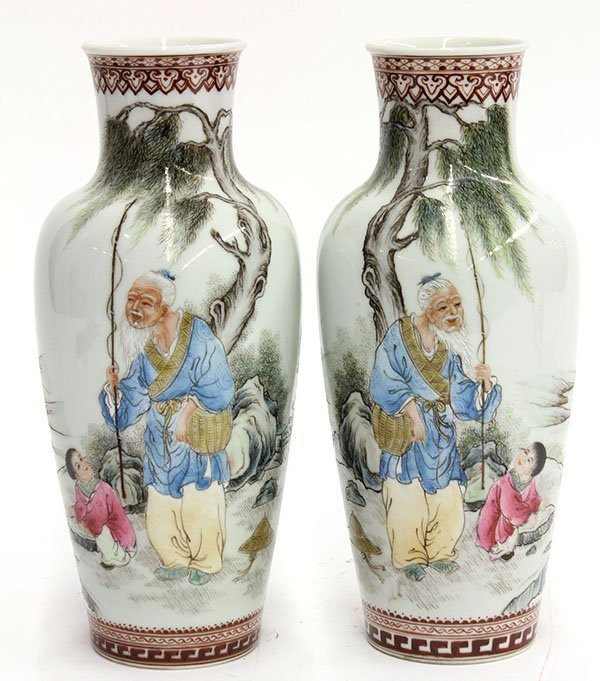 4019: Two Chinese Enameled Porcelain Vases, Fisherman