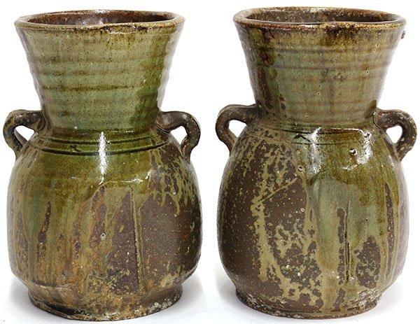 4021: Pair of Japanese Stone Ware Jars