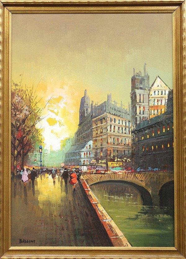 4217: Painting, Parisian Street Scene, signed Bassini