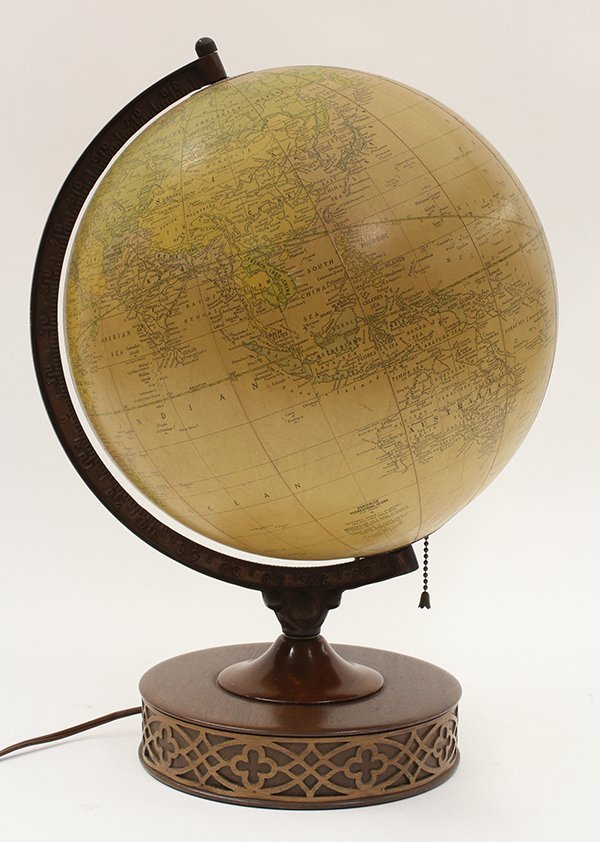 4569: Cram's Terrestrial globe lamp featuring a map of