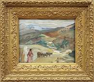 Leon Schulman Gaspard, Village Men and Cattle, gouache