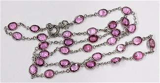 Bezel set pink sapphire and white gold link chain neckl