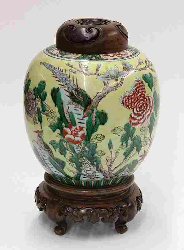 Chinese Enameled Yellow Ground Jar, Bird and Flower