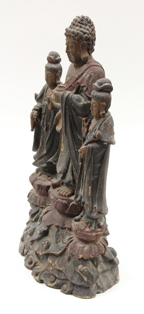 Chinese Lacquered Wood Buddhist Figure - 2
