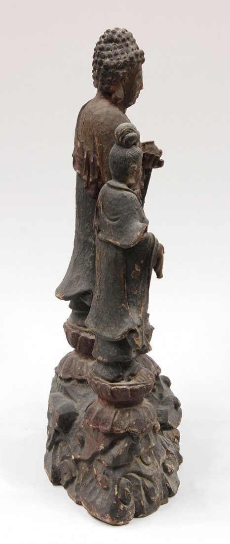 Chinese Lacquered Wood Buddhist Figure - 4