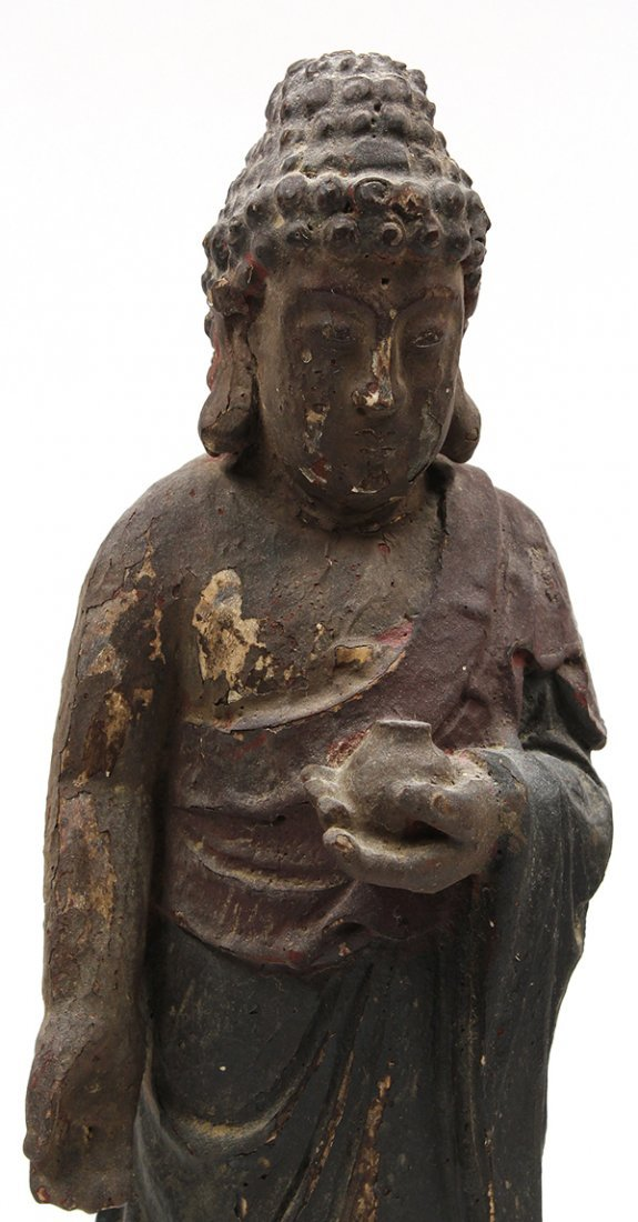 Chinese Lacquered Wood Buddhist Figure - 5