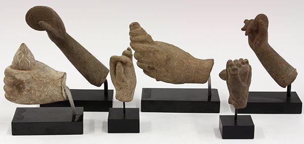 Six South Asian Stone Hands